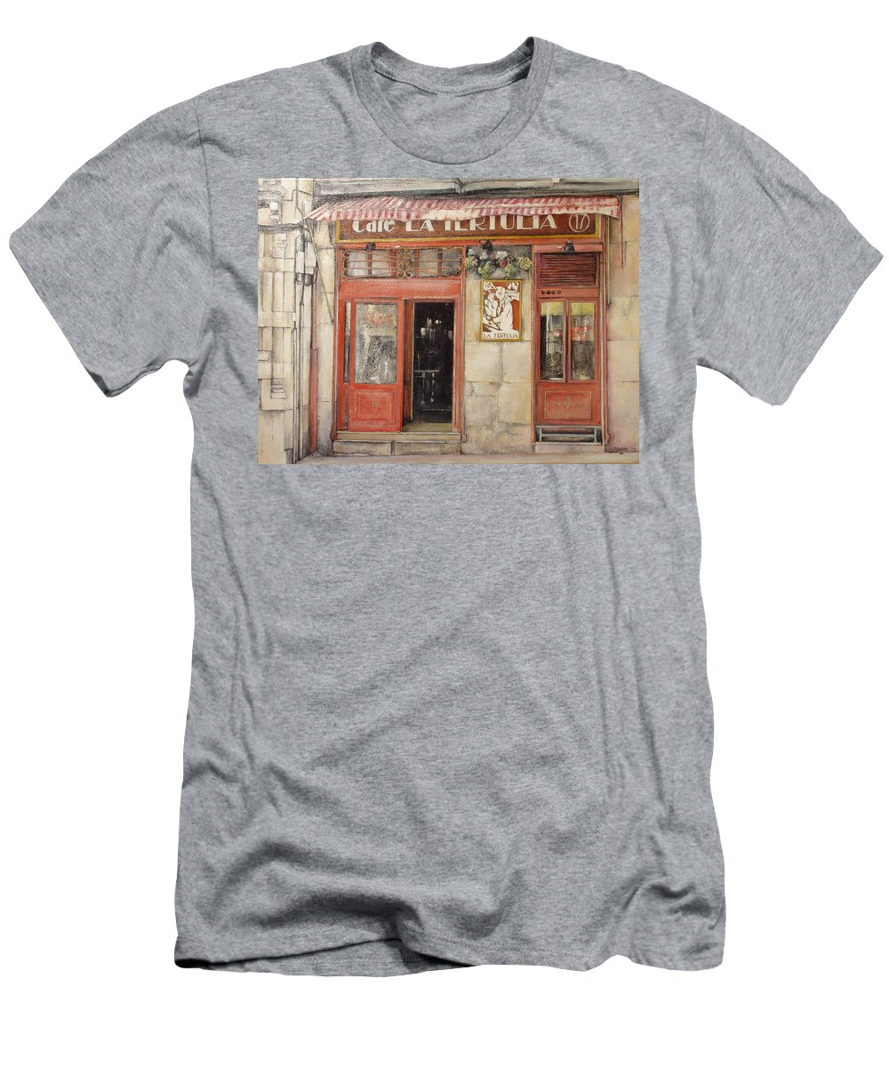 Cafe Men's T-Shirt (Athletic Fit) featuring the painting Old Cafe- Santander Spain by Tomas Castano