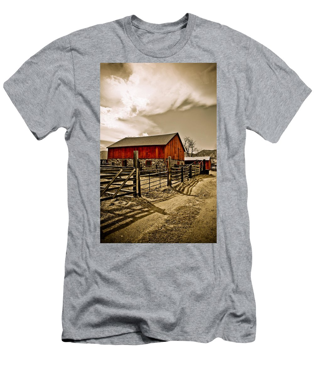 Americana Men's T-Shirt (Athletic Fit) featuring the photograph Old Country Farm by Marilyn Hunt