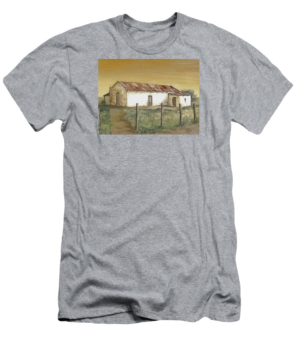 Old House Landscape Country Men's T-Shirt (Athletic Fit) featuring the painting Old House by Natalia Tejera