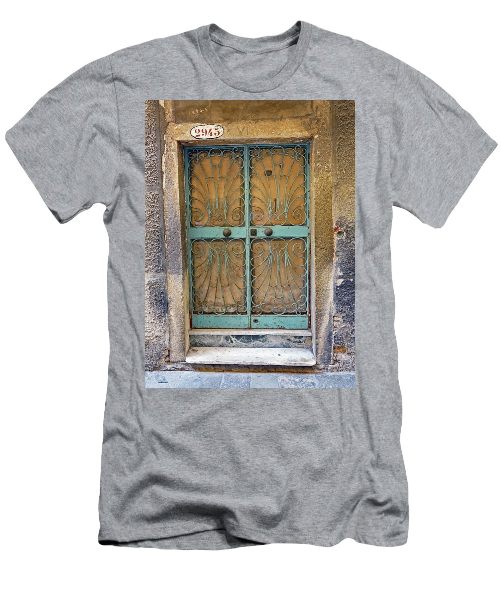 Wrought Iron Men's T-Shirt (Athletic Fit) featuring the photograph Old Ornate Wrought Iron Door In Venice, Italy by Richard Rosenshein