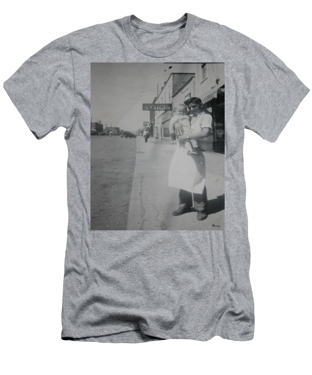 Old Street 1950 Road Store Black And White Photographs Long Ago Classic Men's T-Shirt (Athletic Fit) featuring the photograph Old Street by Andrea Lawrence