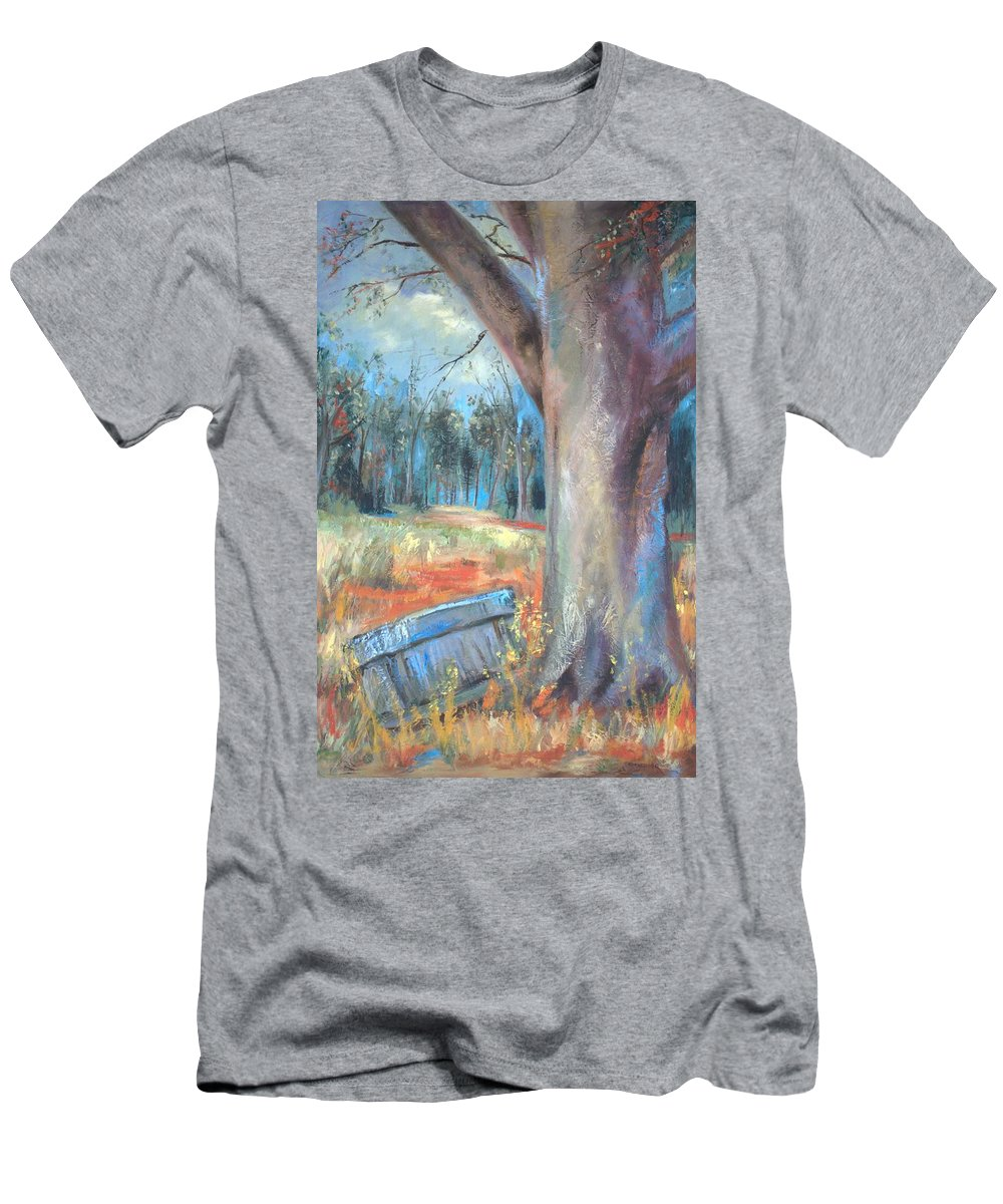 Country Scenes Men's T-Shirt (Athletic Fit) featuring the painting Old Times by Ginger Concepcion
