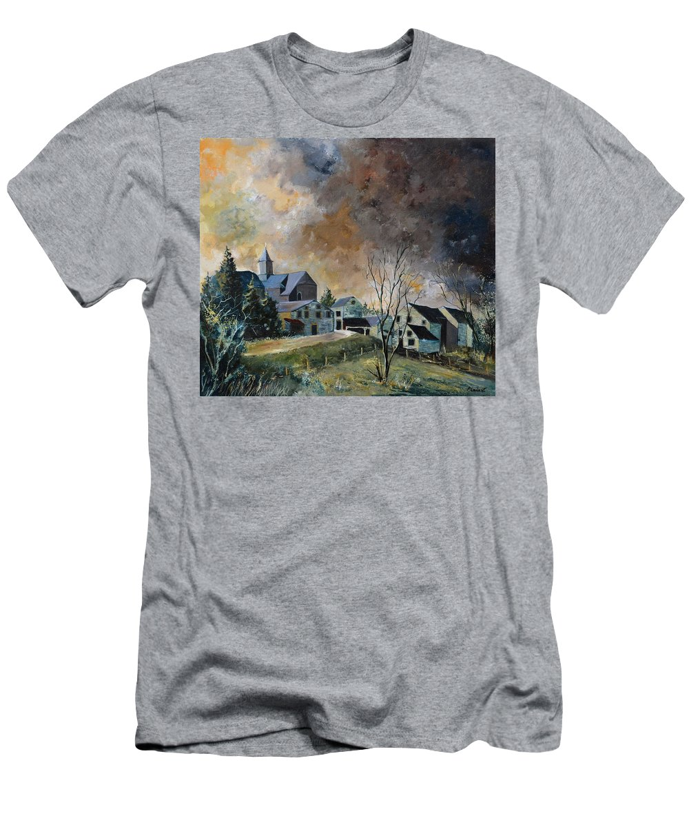 Landscape T-Shirt featuring the painting Old village by Pol Ledent