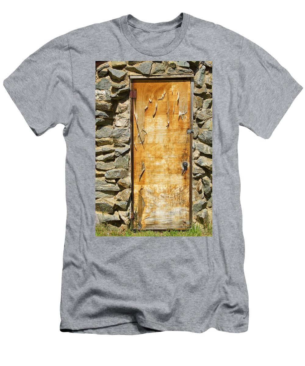 Vertical Men's T-Shirt (Athletic Fit) featuring the photograph Old Wood Door And Stone - Vertical by James BO Insogna