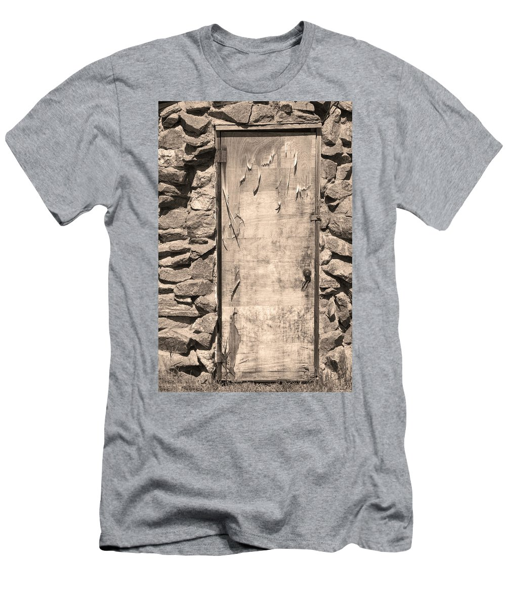 Vertical Men's T-Shirt (Athletic Fit) featuring the photograph Old Wood Door And Stone - Vertical Sepia Bw by James BO Insogna