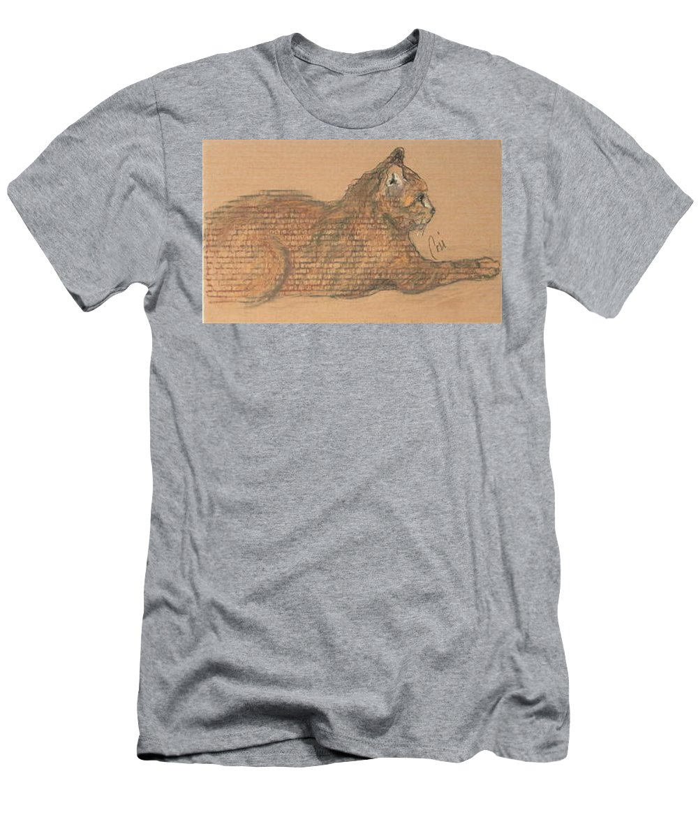 Cat Men's T-Shirt (Athletic Fit) featuring the drawing On Point by Cori Solomon