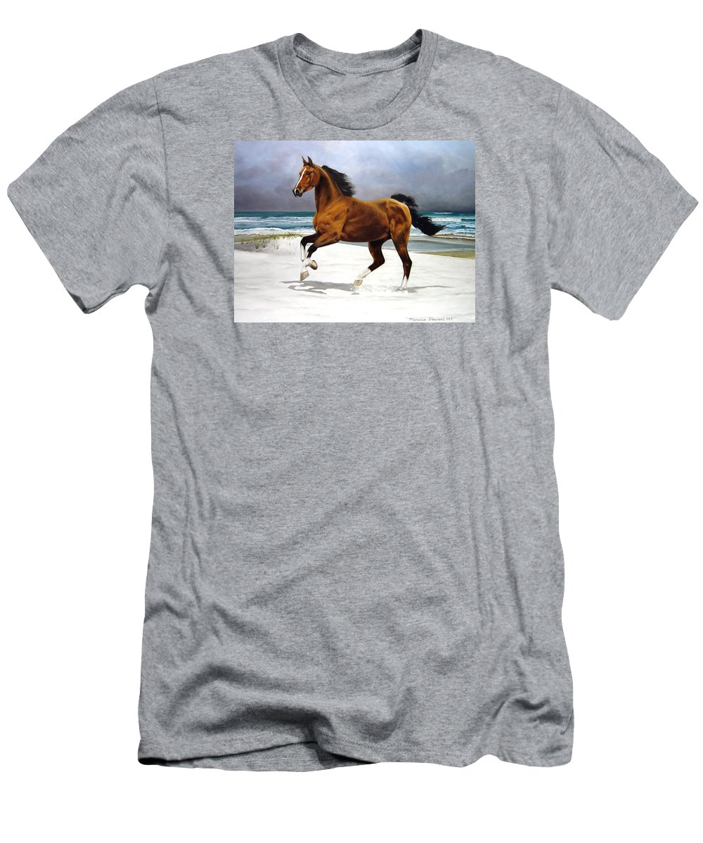 Horse T-Shirt featuring the painting On The Beach by Marc Stewart
