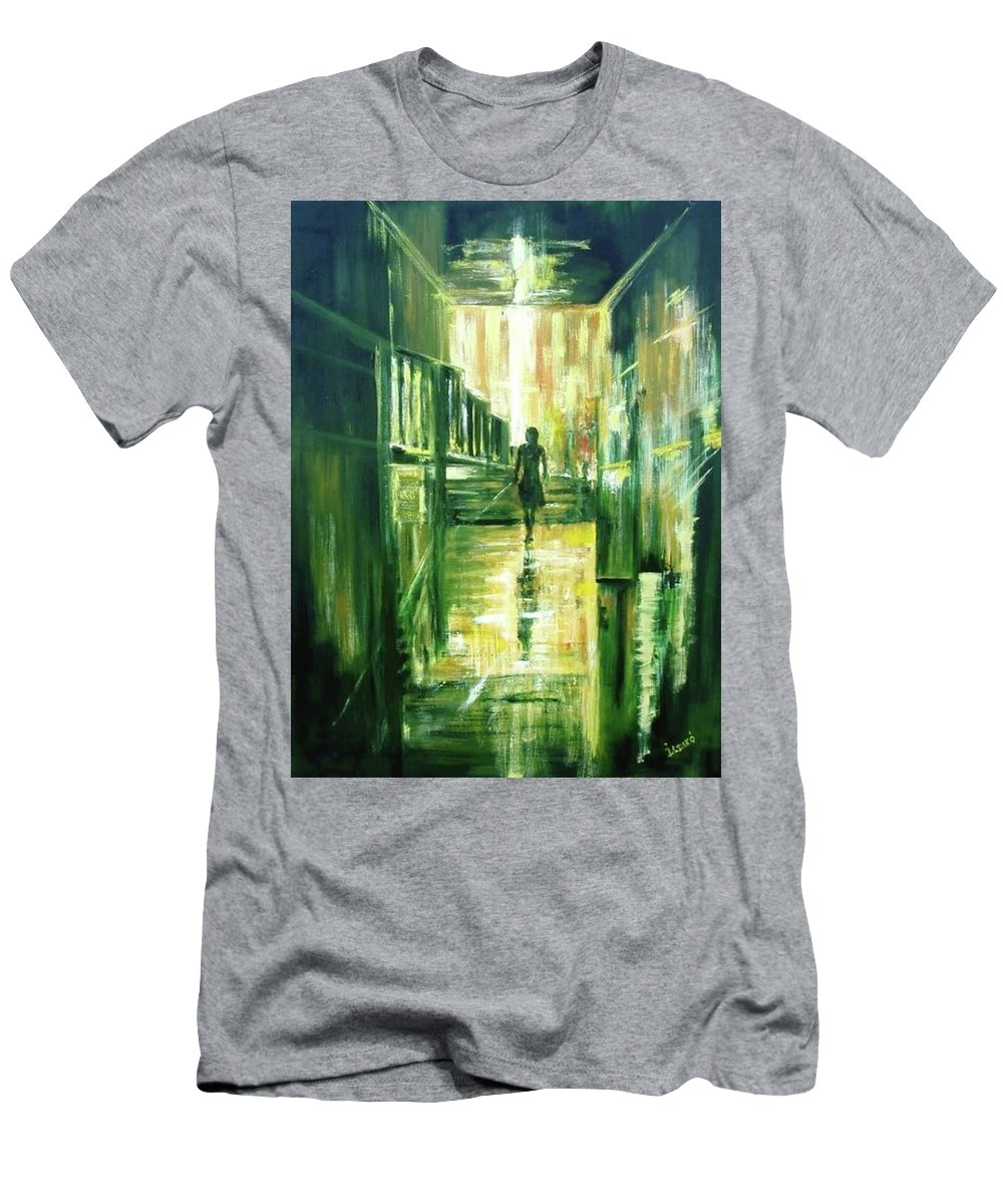 Light Men's T-Shirt (Athletic Fit) featuring the painting On The Light by Ildiko Csegoldi Decsei