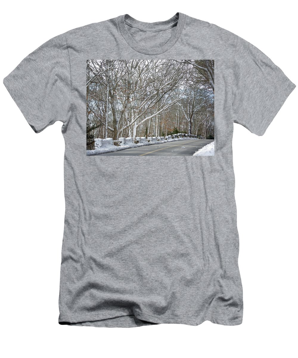 Winter Men's T-Shirt (Athletic Fit) featuring the photograph On The Road To Woods Hole by Mother Nature