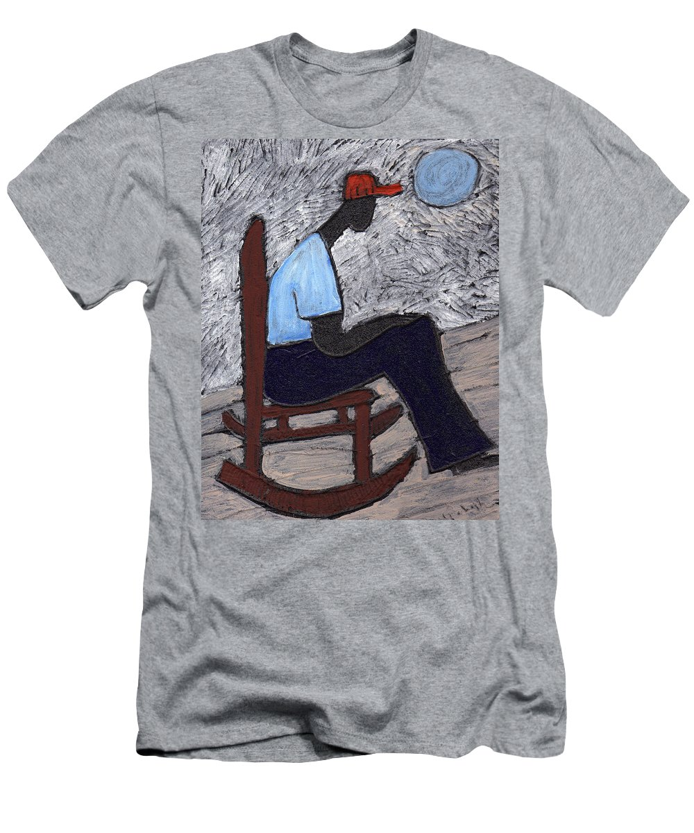 Rocking Chair Men's T-Shirt (Athletic Fit) featuring the painting Once In A Blue Moon by Wayne Potrafka