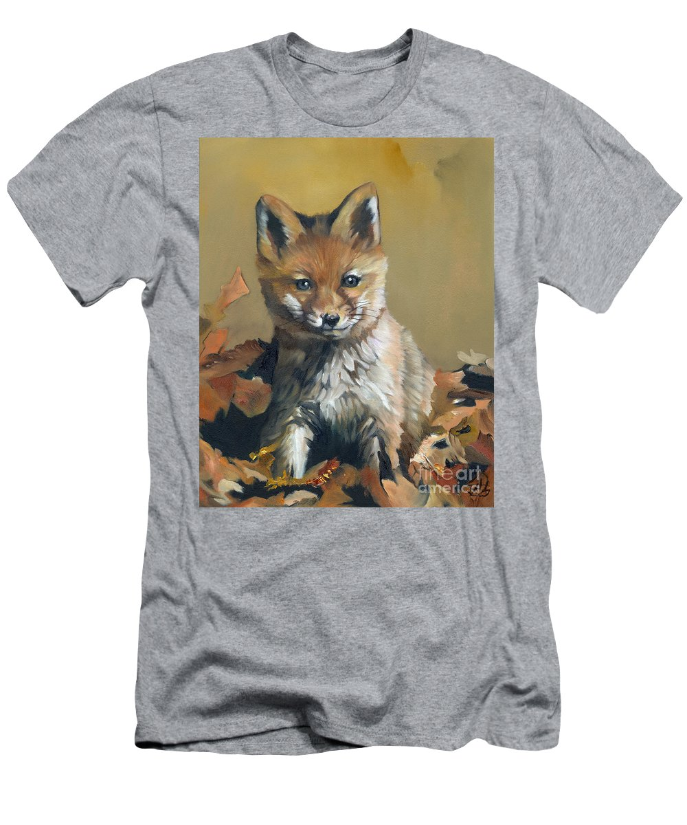 Fox Men's T-Shirt (Athletic Fit) featuring the painting Once Upon A Time by J W Baker