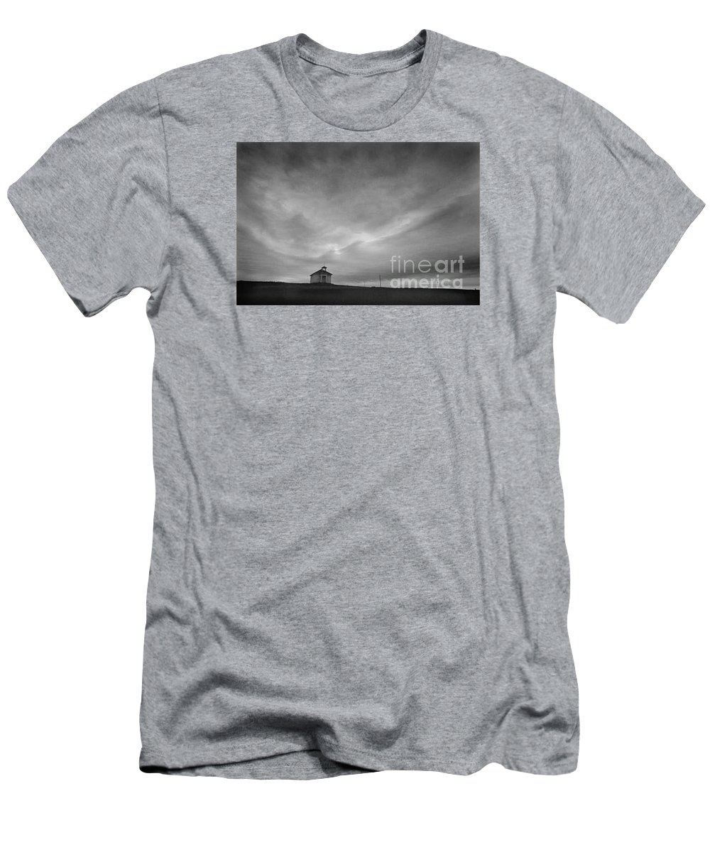 Landscape Men's T-Shirt (Athletic Fit) featuring the photograph One Room Schoolhouse by Michael Ziegler