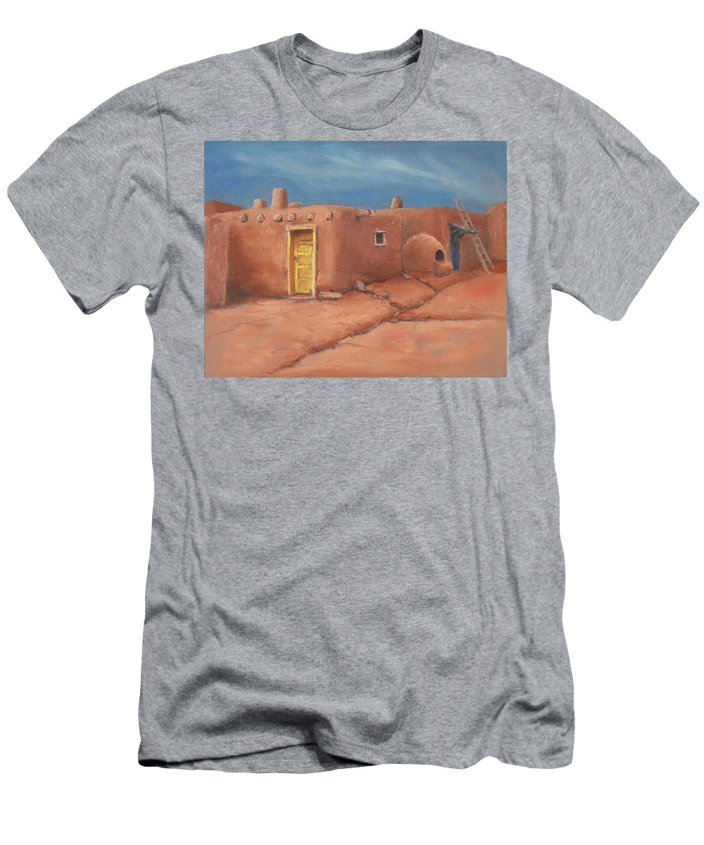 Taos Men's T-Shirt (Athletic Fit) featuring the painting One Yellow Door by Jerry McElroy