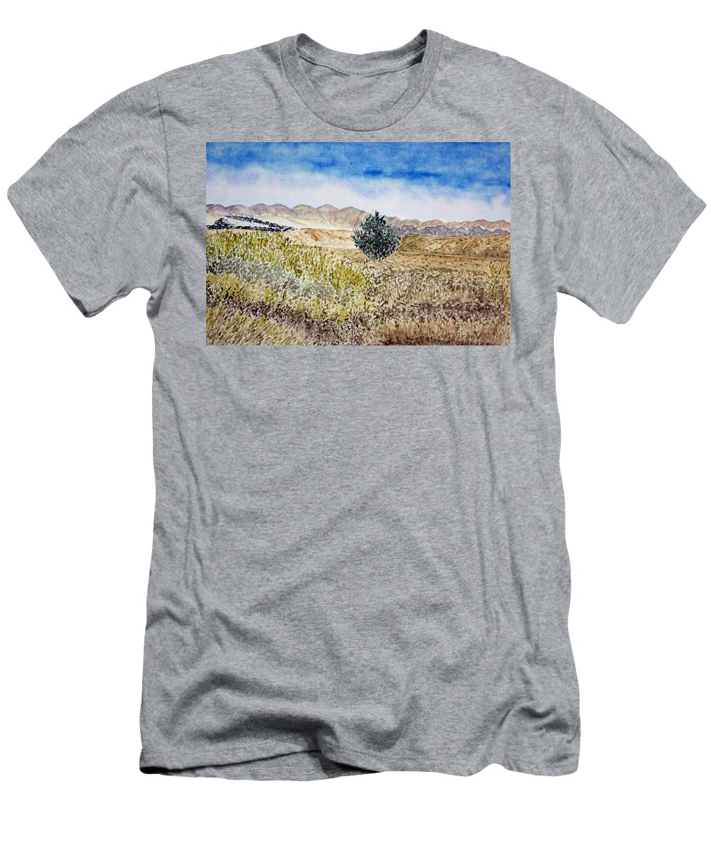 Desert Art Men's T-Shirt (Athletic Fit) featuring the painting Onyo National Forest by Larry Wright