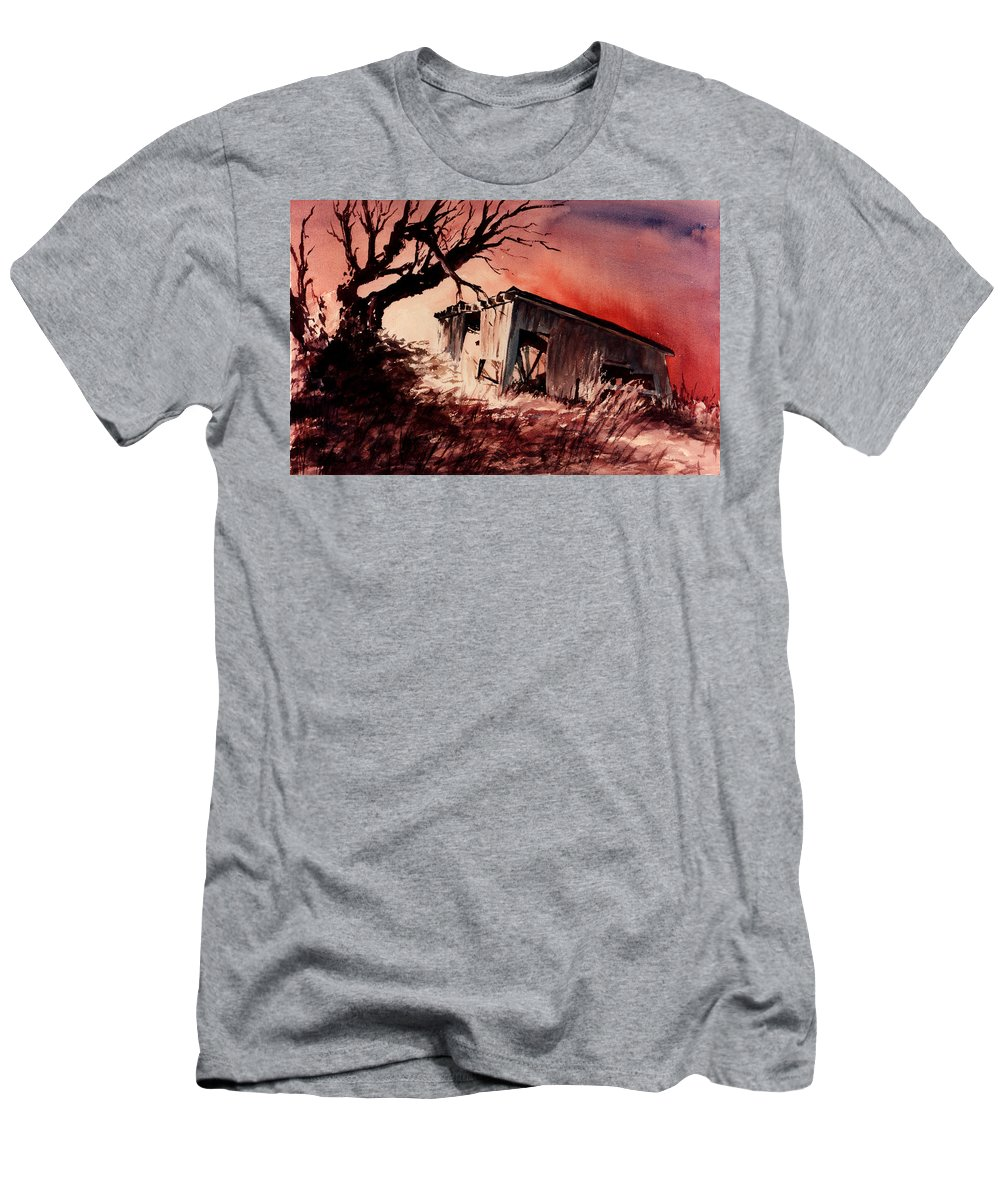 Landscape Men's T-Shirt (Athletic Fit) featuring the painting Open House by Rachel Christine Nowicki