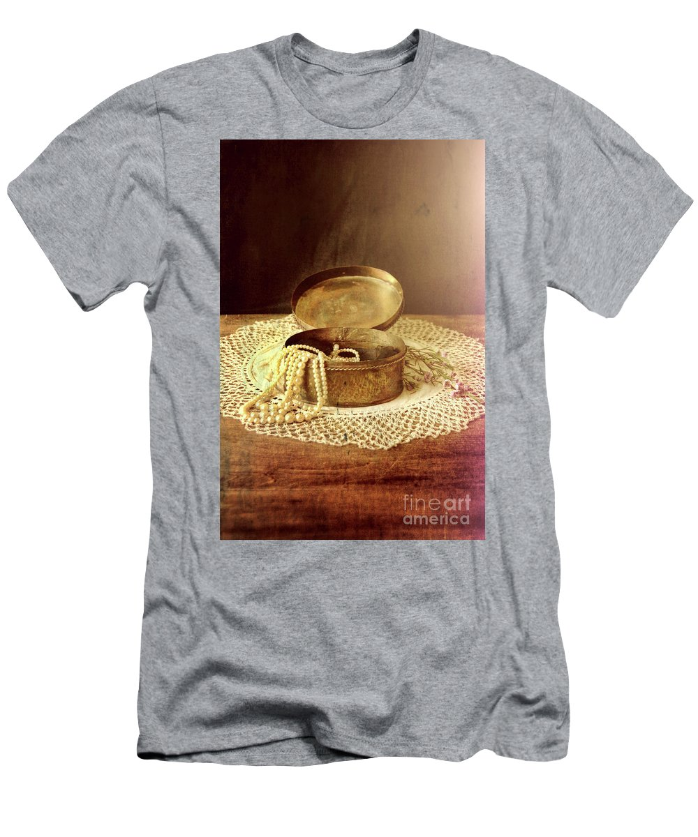 Jewelry Men's T-Shirt (Athletic Fit) featuring the photograph Open Jewelry Box With Pearls by Jill Battaglia