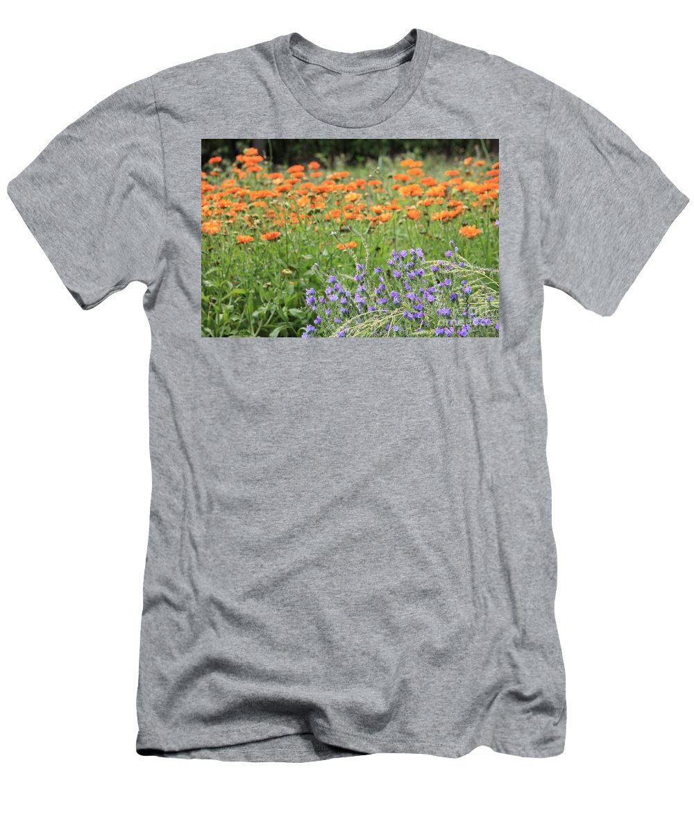 Orange Flowers Men's T-Shirt (Athletic Fit) featuring the photograph Orange And Purple Dream Flowers by Carol Groenen