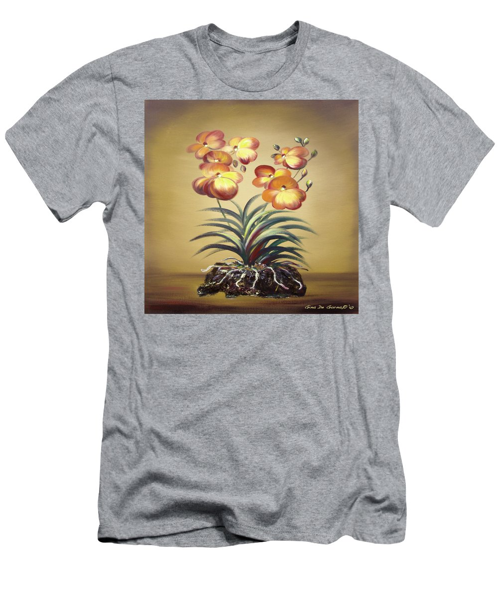 Orange Men's T-Shirt (Athletic Fit) featuring the painting Orange Orchid Flowers by Gina De Gorna