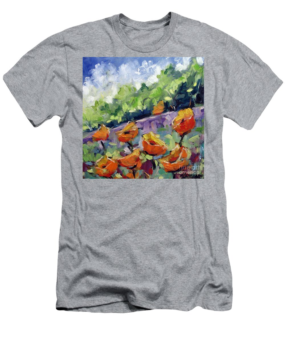Art Men's T-Shirt (Athletic Fit) featuring the painting Orange Poppies by Richard T Pranke