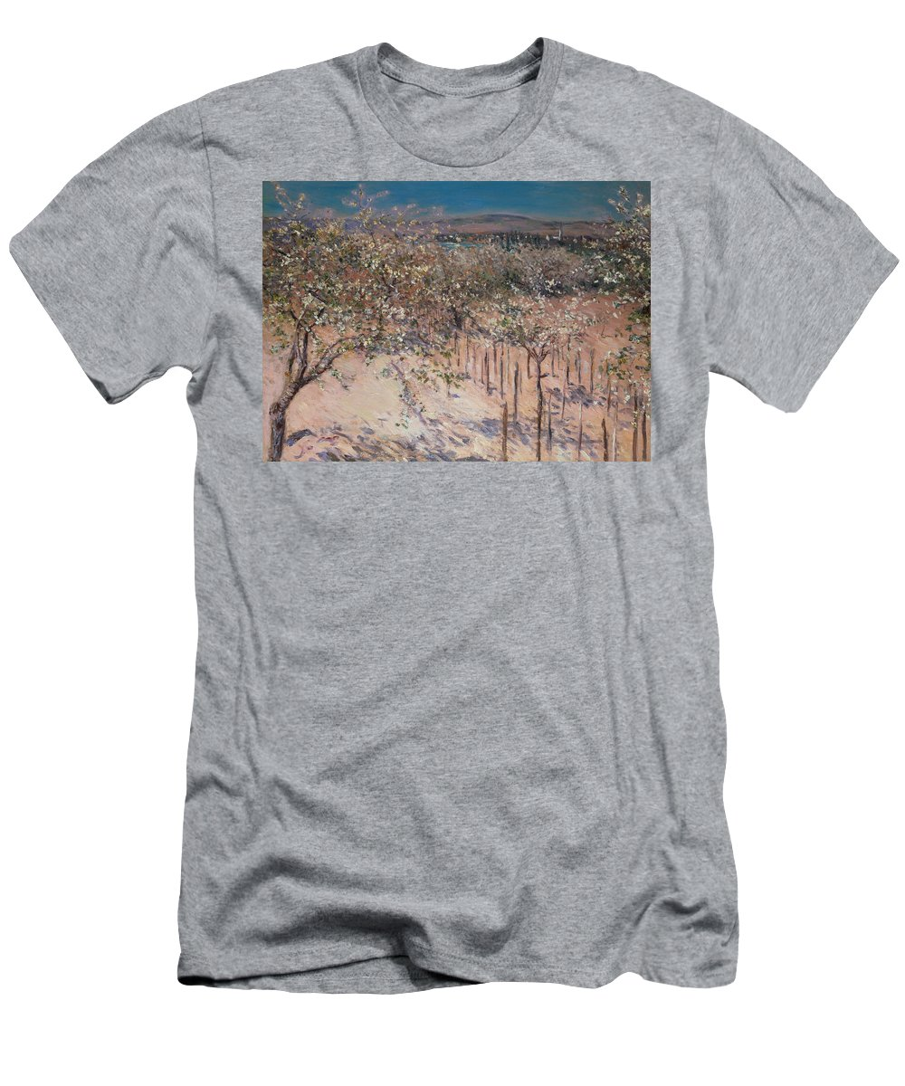 Orchard With Flowering Apple Trees Men's T-Shirt (Athletic Fit) featuring the painting Orchard With Flowering Apple Trees by Gustave Caillebotte