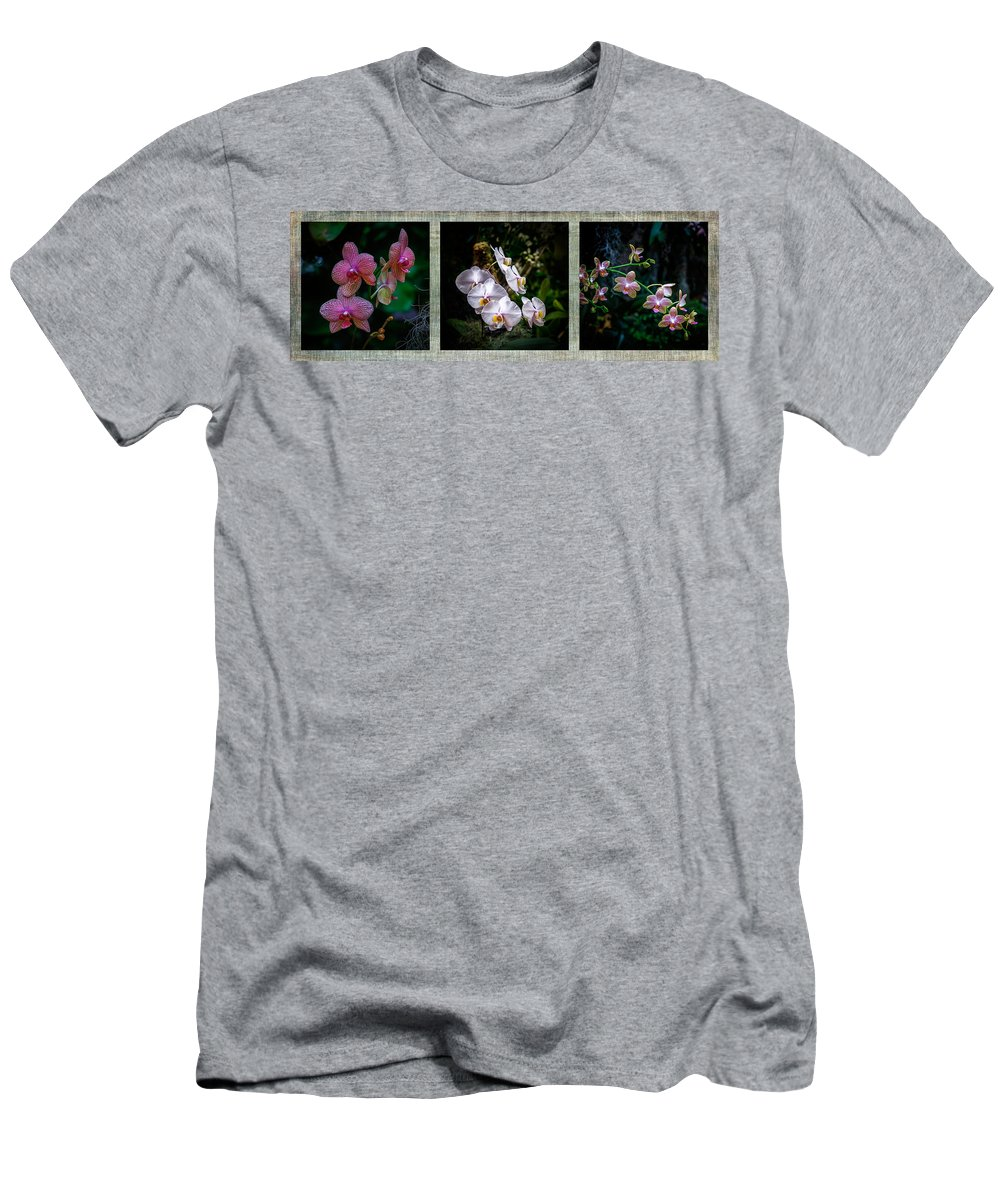 Orchid Men's T-Shirt (Athletic Fit) featuring the photograph Orchid 1 Triptych by Greg Kluempers