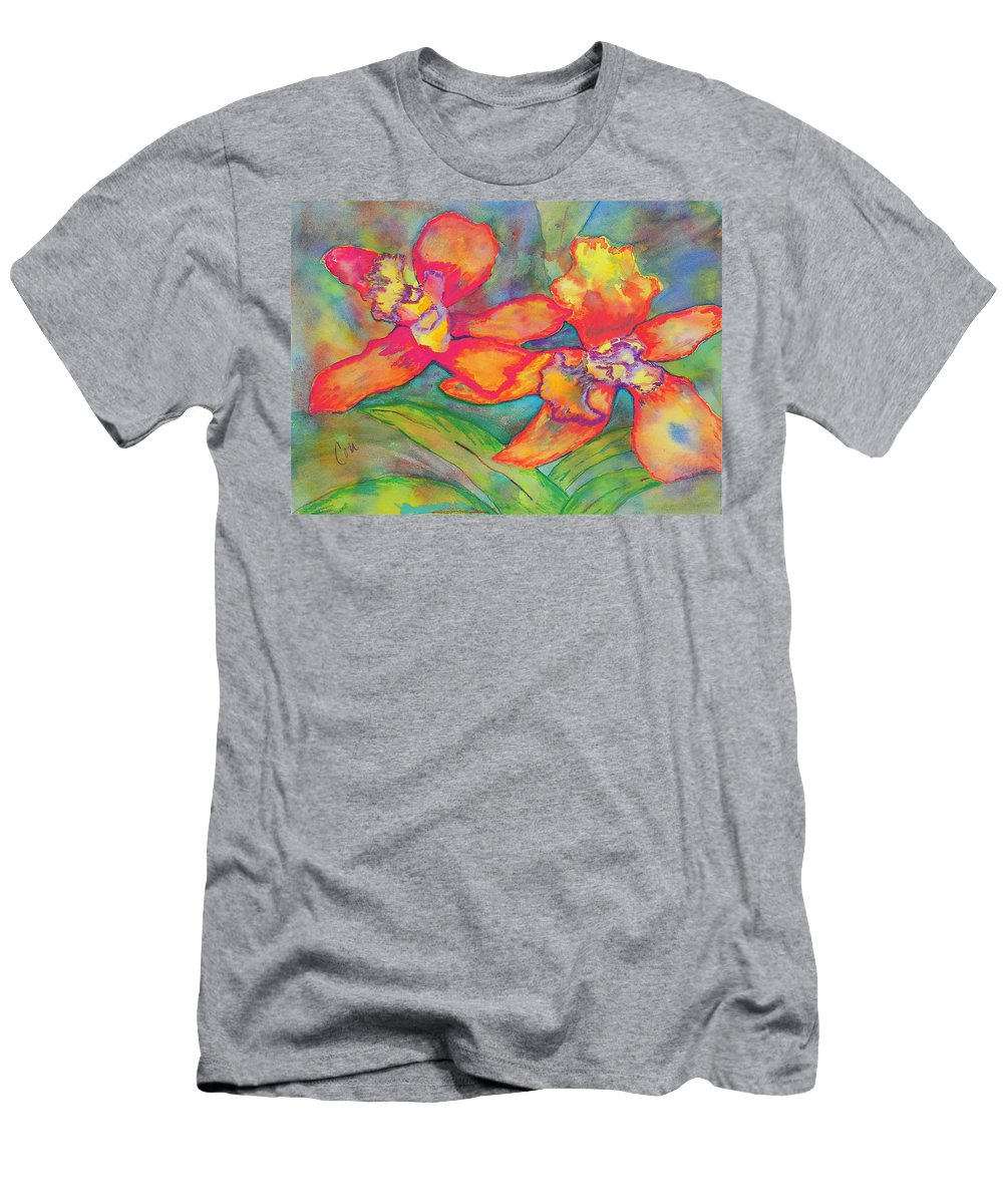 Flowers Men's T-Shirt (Athletic Fit) featuring the painting Orchids In Paradise by Cori Solomon