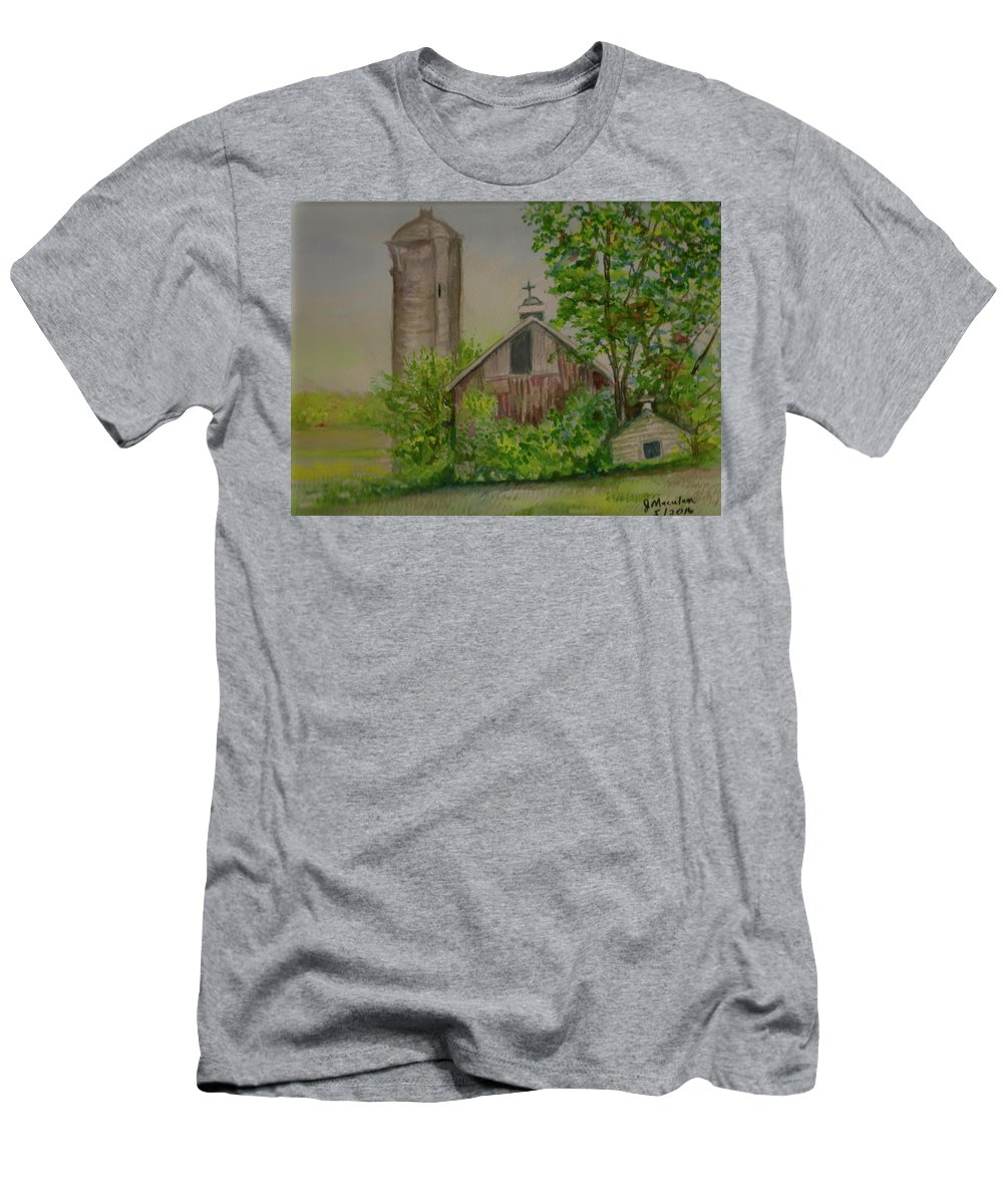 Landscape Men's T-Shirt (Athletic Fit) featuring the painting Orth Rd Barn by Judith Maculan