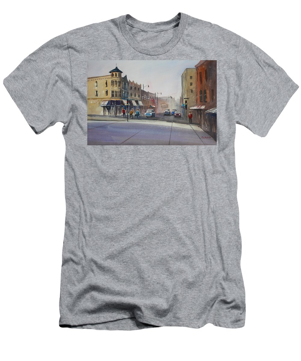 Street Scene T-Shirt featuring the painting Oshkosh - Main Street by Ryan Radke