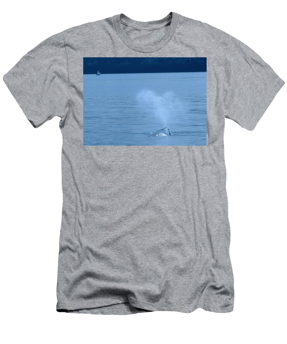 Whales Men's T-Shirt (Athletic Fit) featuring the photograph Out The Blow Hole by Jeff Swan