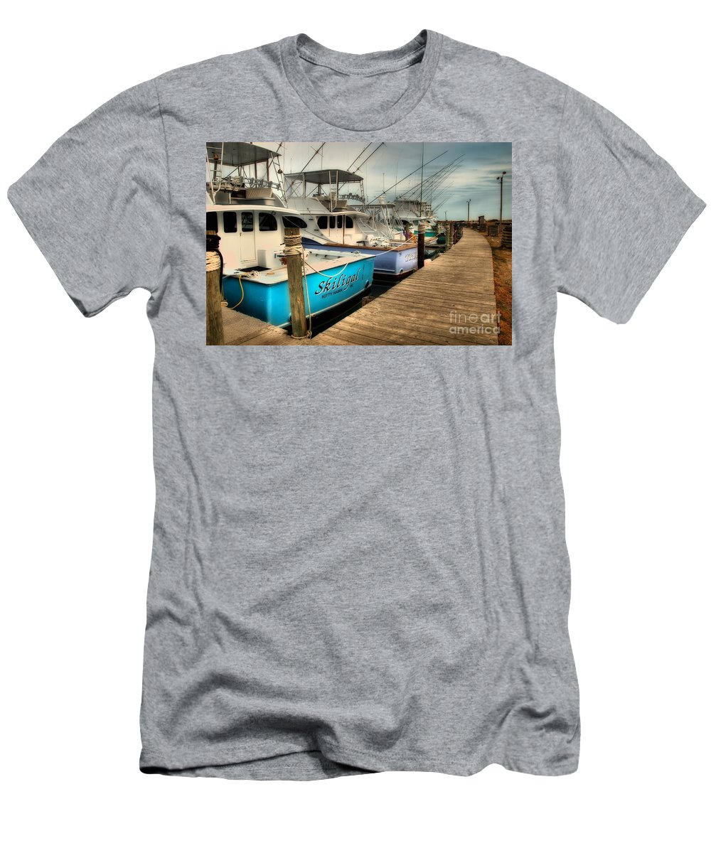 Outer Banks Men's T-Shirt (Athletic Fit) featuring the photograph Outer Banks Fishing Boats Waiting by Dan Carmichael