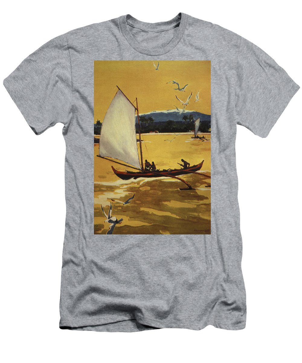 1922 Men's T-Shirt (Athletic Fit) featuring the painting Outrigger Off Shore by Hawaiian Legacy Archive - Printscapes