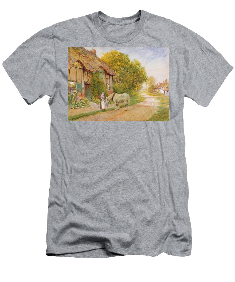 Outside The Village Inn (oil On Canvas) By Arthur Claude Strachan (1865-1935) Men's T-Shirt (Athletic Fit) featuring the painting Outside The Village Inn by Arthur Claude Strachan