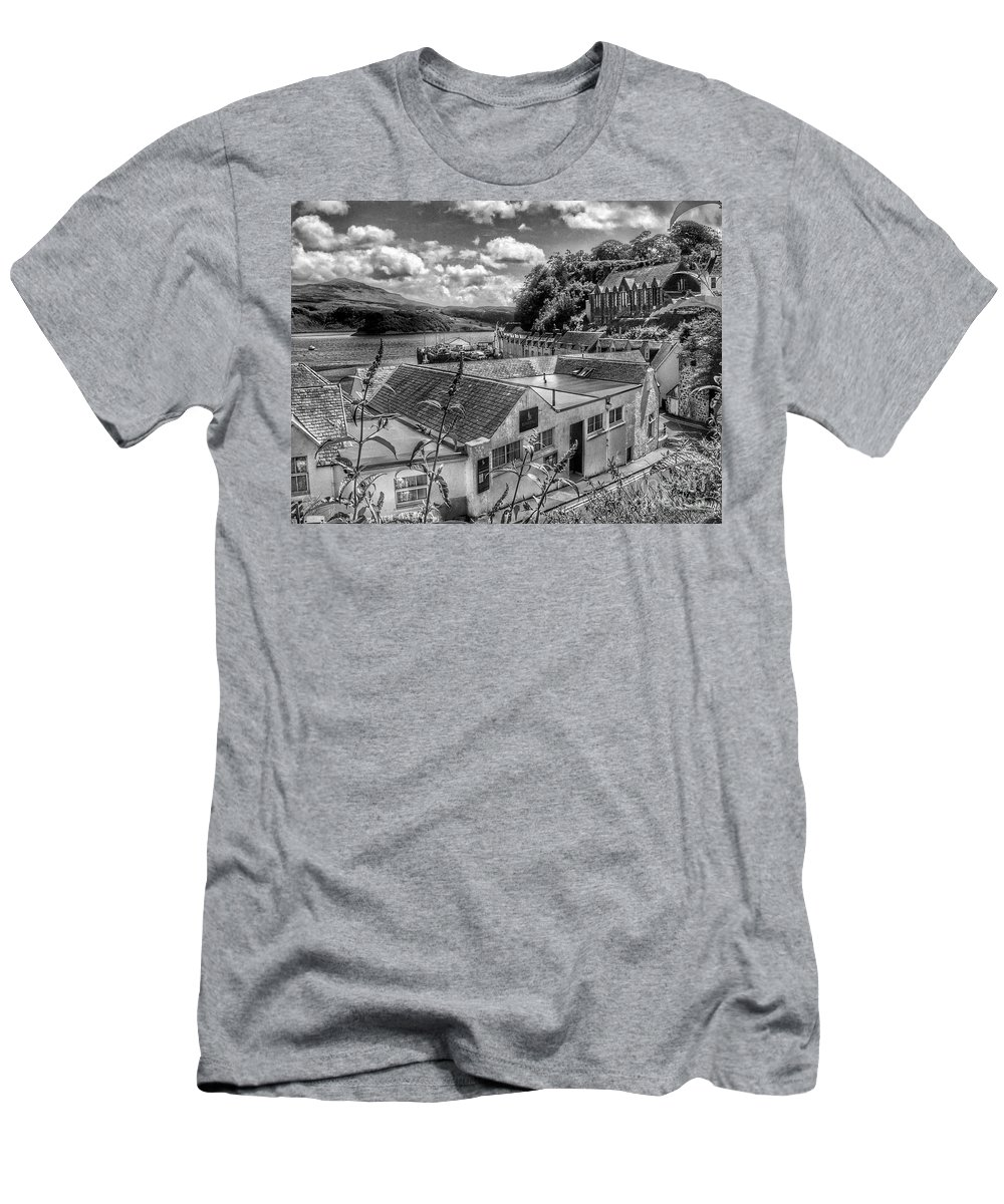 Isle Of Skye Men's T-Shirt (Athletic Fit) featuring the photograph Over The Rooftops At Portree In Greyscale 2 by Joan-Violet Stretch