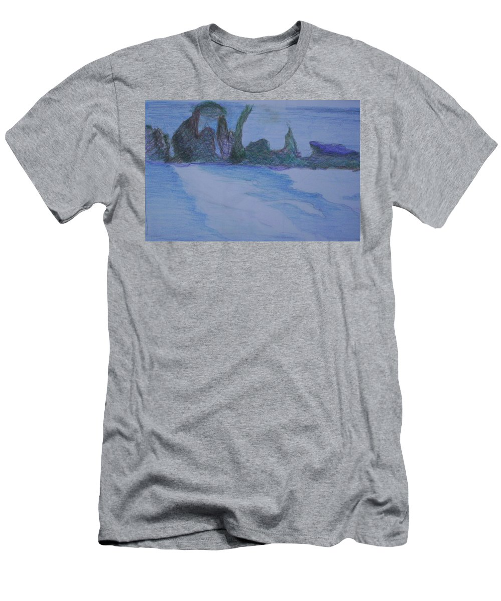 Abstract Painting Men's T-Shirt (Athletic Fit) featuring the painting Overlap by Suzanne Udell Levinger