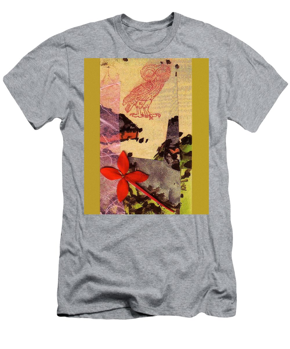Collage Men's T-Shirt (Athletic Fit) featuring the digital art Owl Know by John Vincent Palozzi