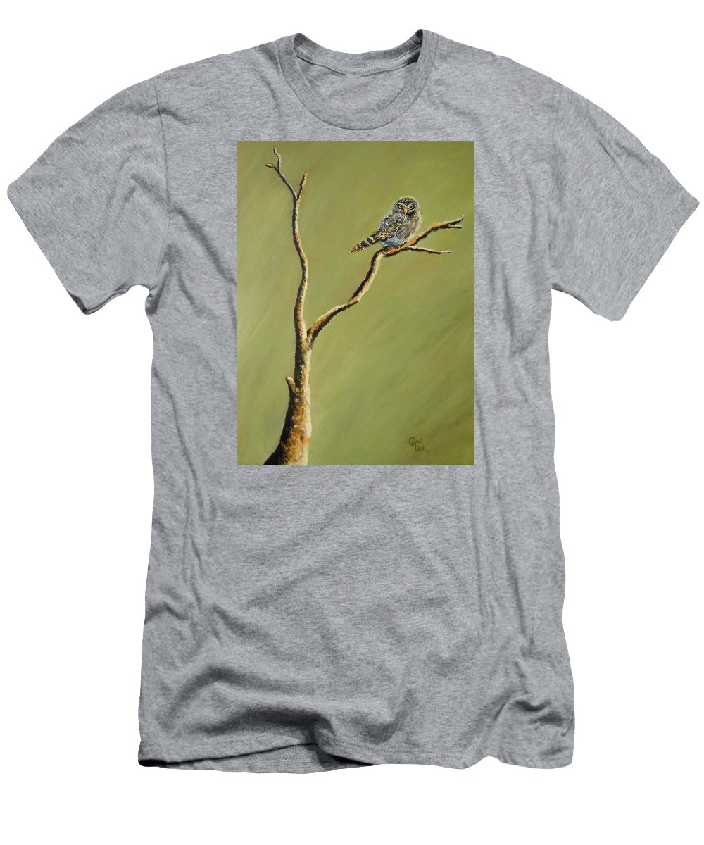 Owl Men's T-Shirt (Athletic Fit) featuring the painting Owl On A Branch by Cami Lee