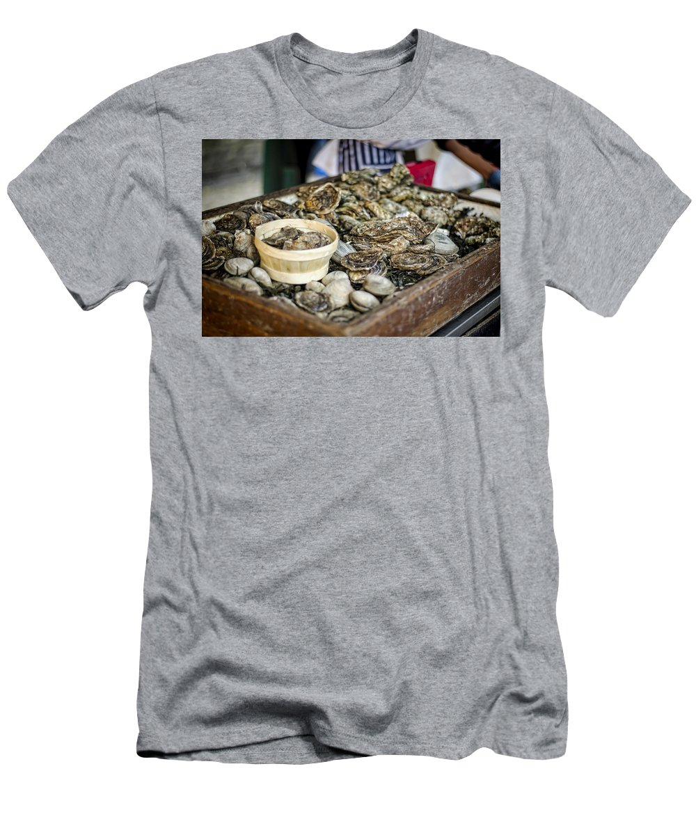 Oysters Men's T-Shirt (Athletic Fit) featuring the photograph Oysters At The Market by Heather Applegate