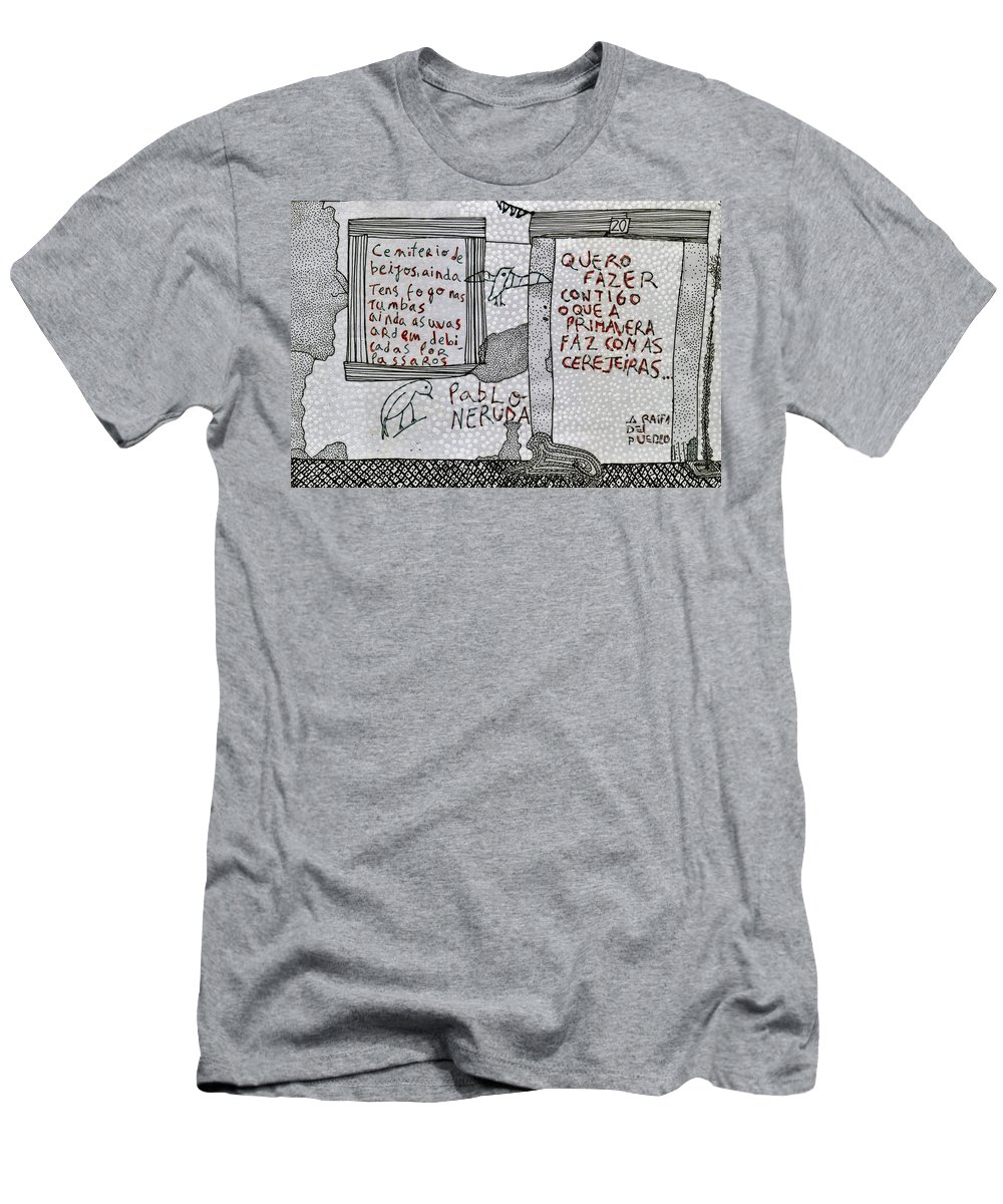 Pablo Neruda Men's T-Shirt (Athletic Fit) featuring the drawing Pablo Neruda by Caterina Kuo