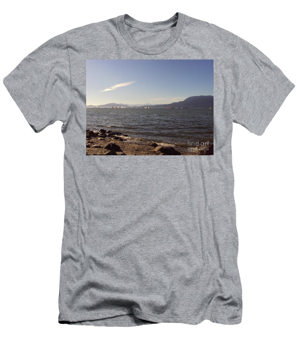 Pacific Men's T-Shirt (Athletic Fit) featuring the photograph Pacific Sailboats by Abelone Petersen