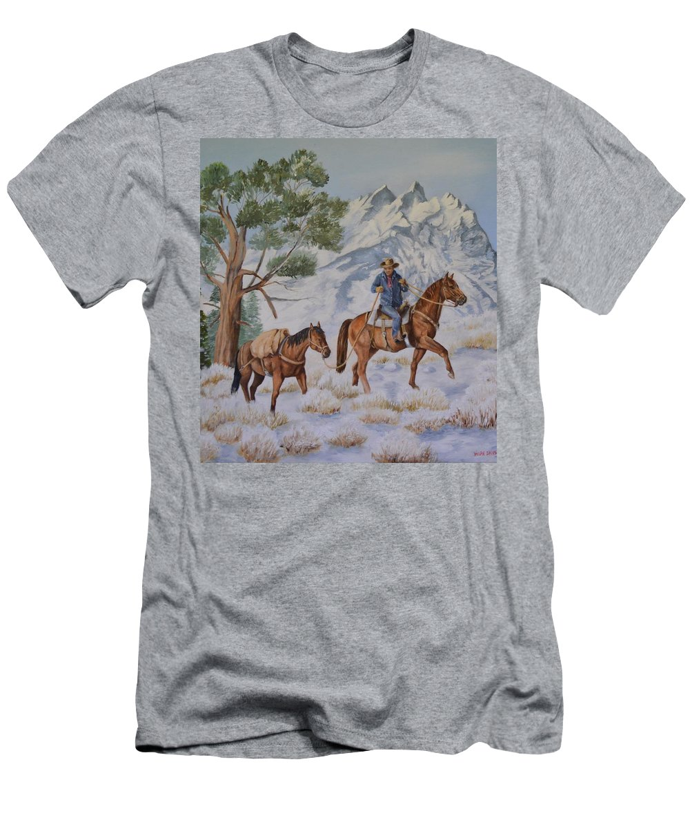 Western Art T-Shirt featuring the painting Packing In by Wanda Dansereau
