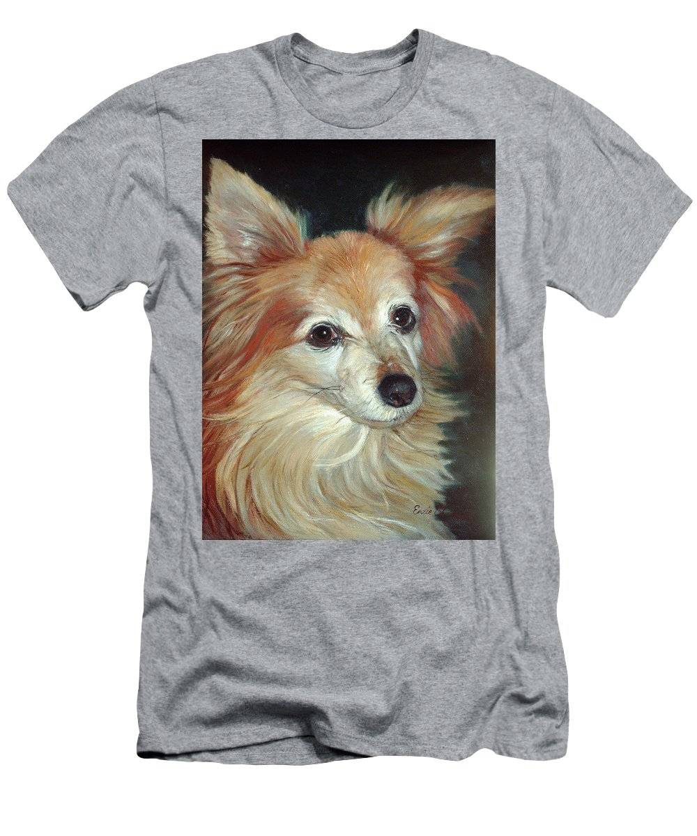 Pet Portraits Men's T-Shirt (Athletic Fit) featuring the painting Paco The Papillion by Portraits By NC