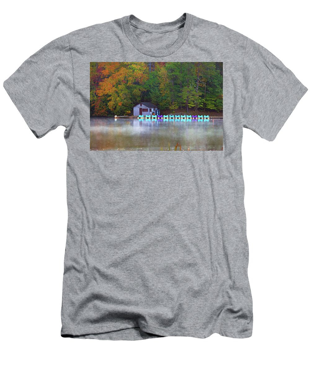 Boat Men's T-Shirt (Athletic Fit) featuring the photograph Paddle Boats On The Lake by Amy Jackson