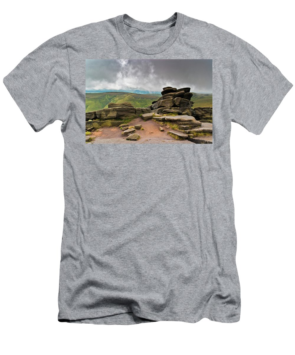 Landscape T-Shirt featuring the photograph Pagoda #1, Kinder Scout, Peak District, North West England by Anthony Lawlor