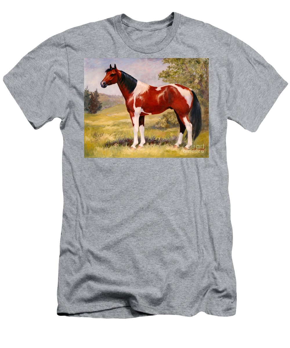 Paint Men's T-Shirt (Athletic Fit) featuring the painting Paint Horse Gelding Portrait Oil Painting - Gizmo by Kim Corpany