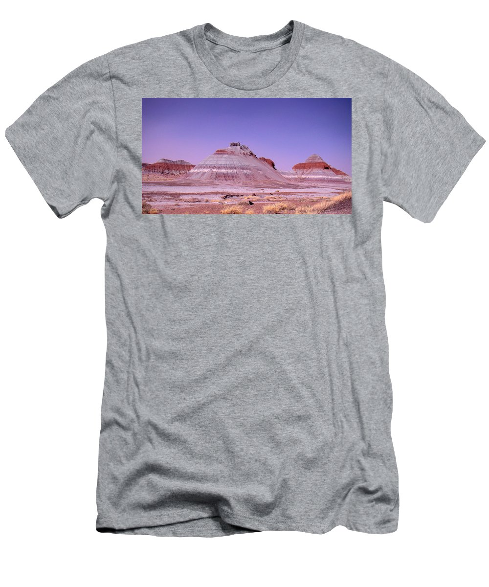 Painted Desert Men's T-Shirt (Athletic Fit) featuring the photograph Painted Desert Tepees by Merja Waters