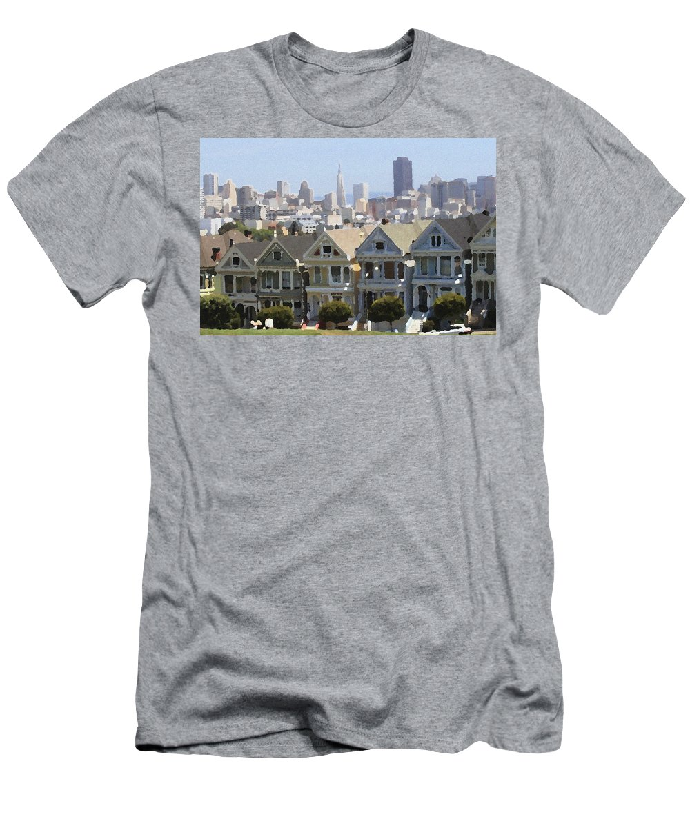 Alamo Men's T-Shirt (Athletic Fit) featuring the photograph Painted Ladies - Palette Knife by Lou Ford