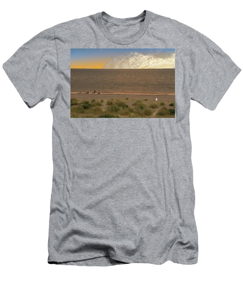 Pakefield Men's T-Shirt (Athletic Fit) featuring the photograph Pakefield Beach Sunset by David French