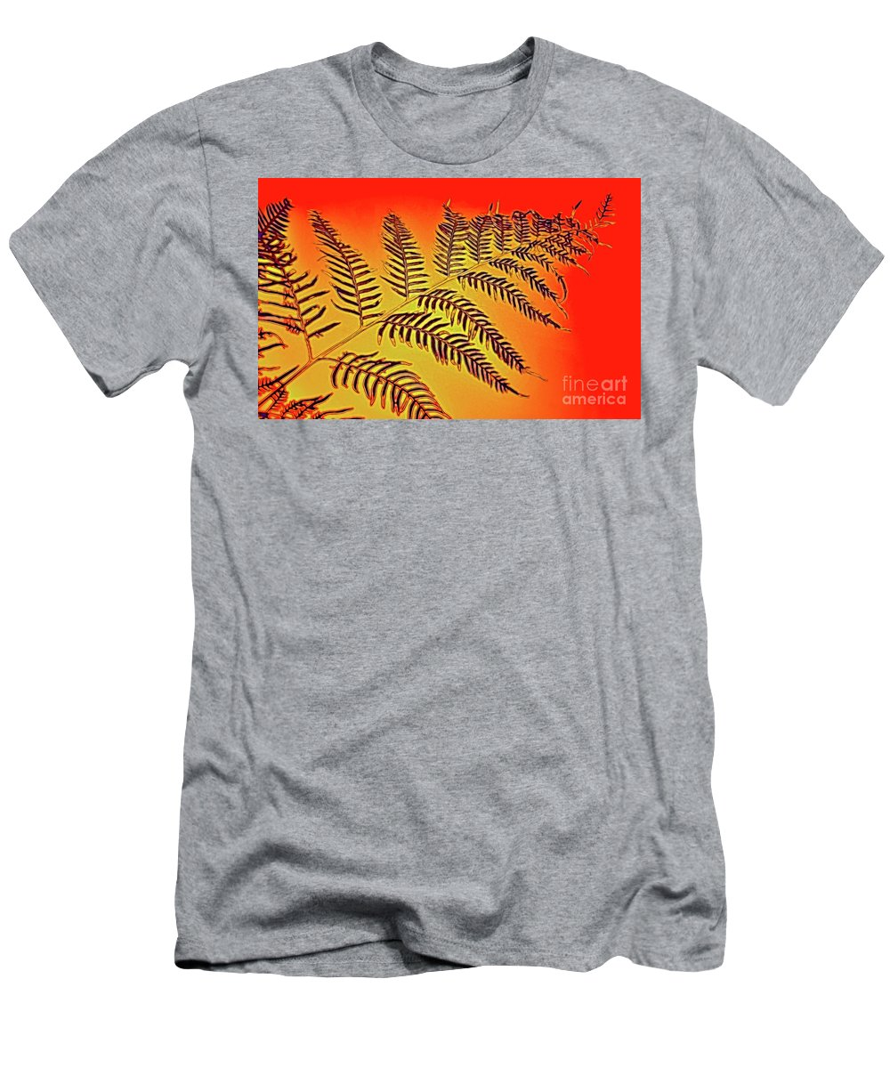 Palm Frond In The Summer Heat Men's T-Shirt (Athletic Fit) featuring the photograph Palm Frond In The Summer Heat by Kaye Menner