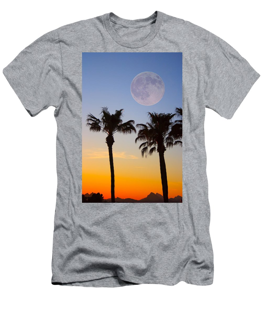 Palm Men's T-Shirt (Athletic Fit) featuring the photograph Palm Tree Full Moon Sunset by James BO Insogna