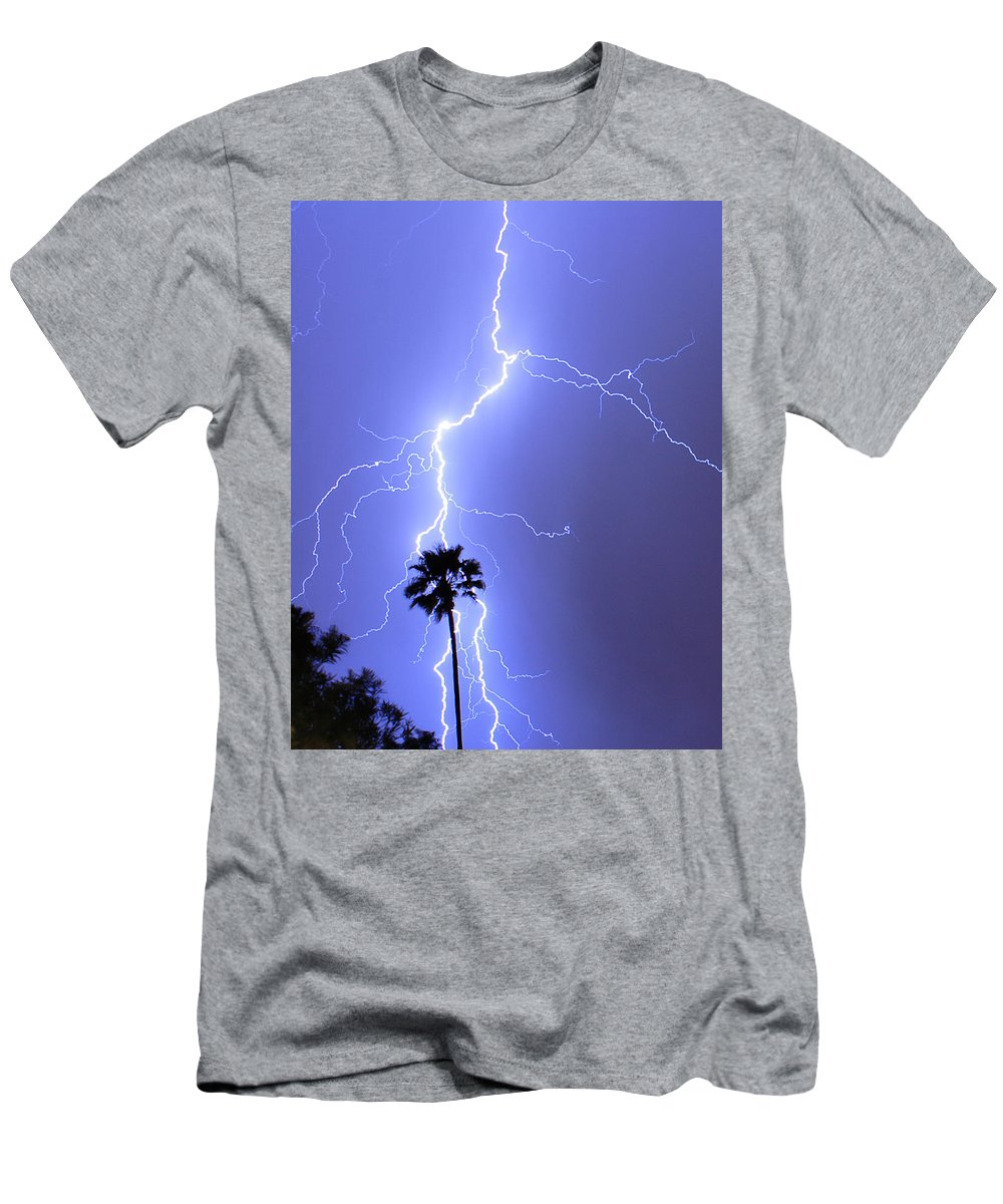 Lightning Men's T-Shirt (Athletic Fit) featuring the photograph Palm Tree On Strike by James BO Insogna